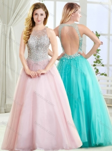 Beautiful See Through Scoop Beaded Modest Prom Dress with Open Back