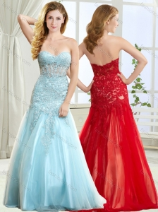 Classical Laced Decorated Skirt Long Modest Prom Dress in Light Blue