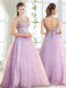 Elegant Beaded Decorated Straps Modest Prom Dress with Brush Train
