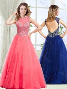 Fashionable See Through High Neck Modest Prom Dress with Beading