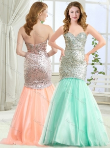 Gorgeous Mermaid Apple Green Evening Dress in Tulle and Sequins