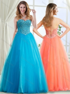 Modest A Line Beaded Bodice Prom Dress in Baby Blue