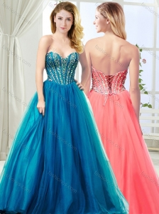 Most Popular Visible Boning Tulle Teal Modest Prom Dress with Beading