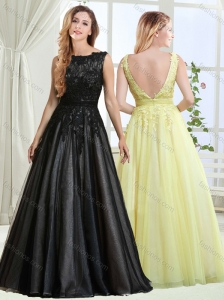 Perfect A Line Bateau Backless Laced Modest Prom Dress in Black