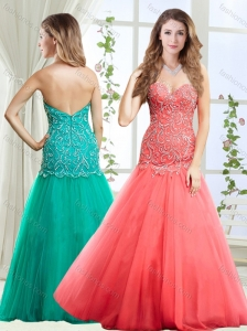 Popular Beaded Decorated Skirt Coral Red Evening Dress with Zipper Up