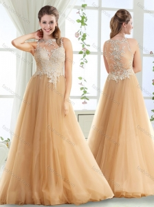 Popular See Through High Neck Champagne Evening Dress with Brush Train