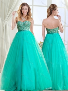 Sophisticated Beaded and Belted Tulle Evening Dress in Turquoise