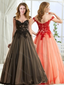 Top Selling V Neck Zipper Up Modest Prom Dress with Black Appliques