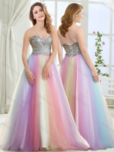 Wonderful Beaded and Sequined Brush Train Modest Prom Dress in Rainbow