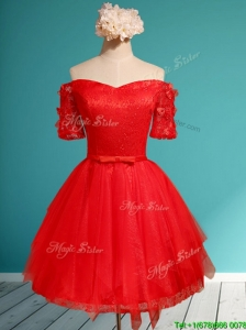 Comfortable Off the Shoulder Short Sleeves Red Prom Dress with Appliques and Belt