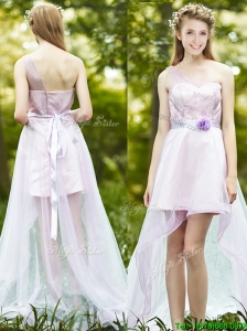 Comfortable One Shoulder High Low Prom Dress with Sashes and Lace