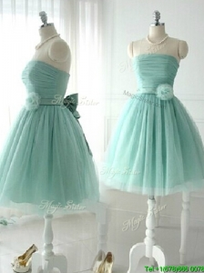 Discount Handcrafted Flower Short Prom Dress in Apple Green