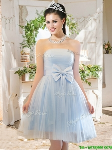 Elegant A Line Strapless Bowknot Short Prom Dress in Light Blue