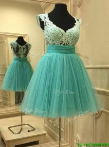 Elegant Deep V Neckline Short Prom Dress with Lace