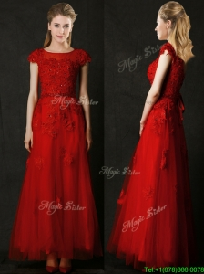 Elegant Empire Applique Red Prom Dress with Cap Sleeves
