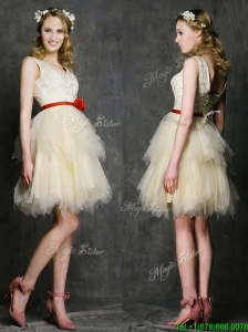 Most Popular V Neck Short Prom Dress with Belt and Ruffled Layers