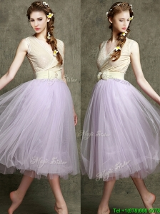 New Style Lavender V Neck Prom Dress with Bowknot and Belt
