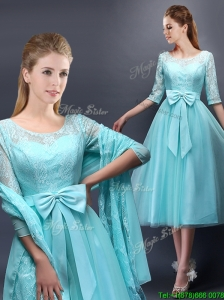 Romantic Aqua Blue Scoop Half Sleeves Prom Dress with Bowknot