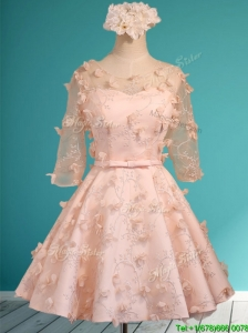 Wonderful Applique and Belted Scoop Short Prom Dress in Peach
