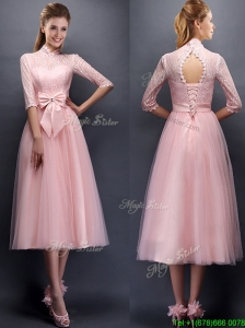 Luxurious Laced High Neck Half Sleeves Bridesmaid Dress with Bowknot