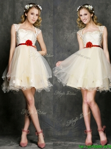 New Style Straps Short Bridesmaid Dress with Belt and Appliques