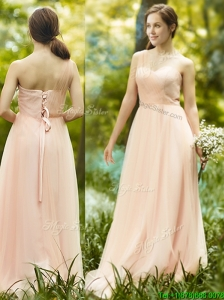 See Through One Shoulder Peach Bridesmaid Dress in Floor Length