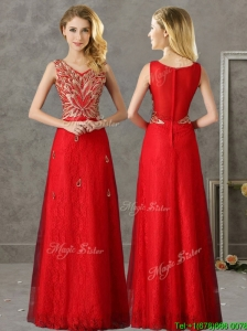 Classical V Neck Red Bridesmaid Dress with Appliques and Beading