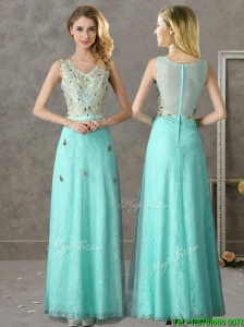 Discount Beaded and Applique V Neck Bridesmaid Dress in Apple Green