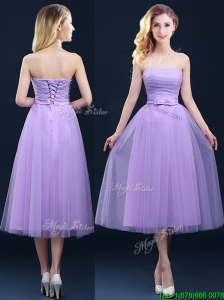 Discount Tea Length Tulle Lavender Bridesmaid Dress with Belt