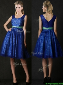 New Arrivals Belted and Laced Blue Bridesmaid Dress in Knee Length