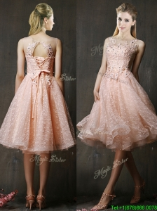 See Through Beaded and Applique Peach Bridesmaid Dress with Polka Dot