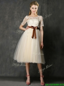 See Through Scoop Short Sleeves Bridesmaid Dress with Bowknot and Lace