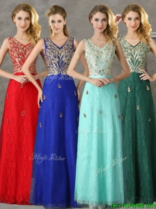 Fashionable V Neck Long Prom Dress with Appliques and Beading