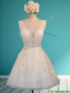 Gorgeous White Deep V Neckline Prom Dress with Appliques and Belt