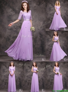 Perfect Applique and Laced Lavender Long Prom Dress in Chiffon