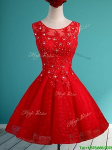 Popular Scoop Red Short Prom Dress with Beading and Appliques