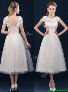 Pretty Tea Length A Line Prom Dress with Cap Sleeves
