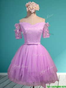 Sweet Lilac Off the Shoulder Short Sleeves Prom Dress with Appliques and Belt