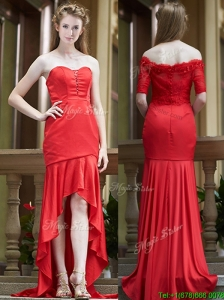 Cheap Column High Low Red Bridesmaid Dresses with Brush Train