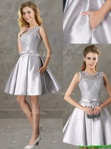Classical Laced and Bowknot Scoop Bridesmaid Dresses in Silver