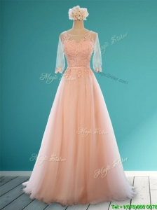 Classical Scoop Half Sleeves Bridesmaid Dresses with Appliques and Belt