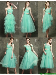 Elegant Hand Made Flowers Ankle Length Bridesmaid Dresses in Apple Green