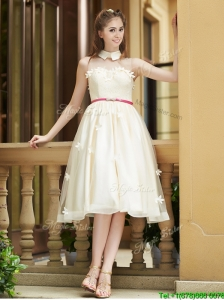 Elegant  High Neck Champagne Bridesmaid Dresses with Appliques and Sashes
