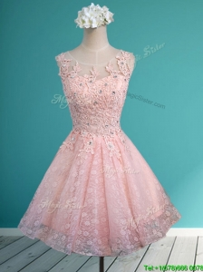 Elegant Scoop Beading and Appliques Short Bridesmaid Dresses in Baby Pink