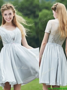 Elegant Sweetheart Short Sleeves Bridesmaid Dress with Belt and Lace