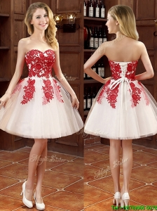 Hot Sale Mini Length Appliques Bridesmaid Dresses in White