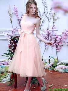 Luxurious One Shoulder Bridesmaid Dresses with Bowknot and Hand Made Flowers