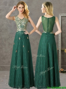 Luxurious V Neck Dark Green Bridesmaid Dresses with Appliques and Beading