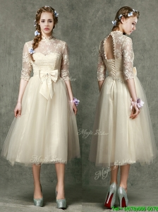 See Through High Neck Half Sleeves Bridesmaid Dresses with Lace and Bowknot