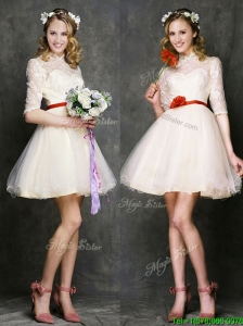 See Through High Neck Half Sleeves Short Bridesmaid Dresses with Belt